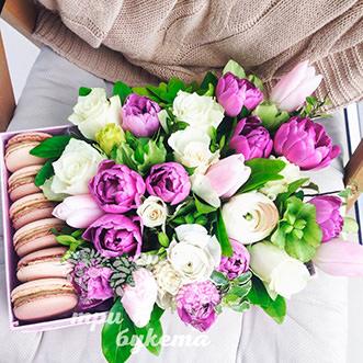 6 макарун с тюльпанами